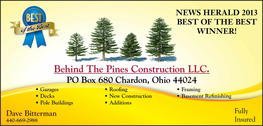 Best of The Best Geauga Home Improvement 2013 News Hearald - Behind the Pines Construction